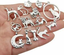 10 Dog Charms Cat Pendants Assorted Charms Lot Paw Print Antiqued Silver Mix
