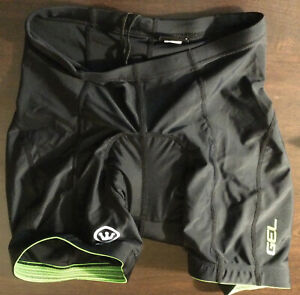Adult Canari Cycling Fitted Shorts Gel Chamois Padded Black Green Sz S
