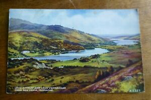 D539 Loch ACHRAY & Loch VENNACHAR From Ben Venue TROSSACHS Postcard c1955