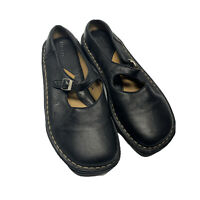 Born Handcrafted Black Leather Mary Jane Flats Women Size 6.5 M 37 B-3224 EUC