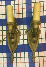 New listing Pair Of Vintage Brass Or Cast Metal Antique Wall Sconce Light Fixture Chandelier