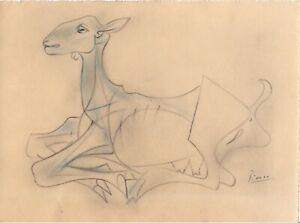 Picasso graphite+pencil on paper drawing - GOAT - original signed no repro