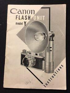 Vintage 1954 Canon Flash Bulb Unit Model Y Instruction Manual- IV-S, IV-S2, II-F