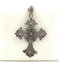 Vintage Sterling Silver Large Filigree Budded Cross Charm Pendant