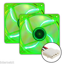 TWIN PACK SUPER SILENT MOLEX 4 PIN 120MM GREEN LED PC CASE FANS CASE COOLING