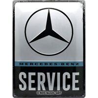 Mercedes Benz Service Insegna Metallo Goffrato Grande 400mm x 300mm (Na)