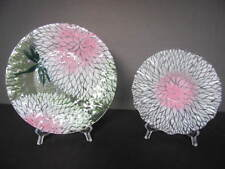 SET OF 2 SYDENSTRICKER PINK & WHITE FUSED GLASS BOWL & MATCHING DRAGONFLY PLATE