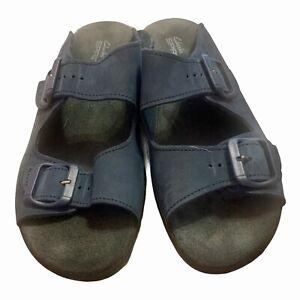 Clark Springers Suede Slide On Comfort Sandals 7M Blue Made In England