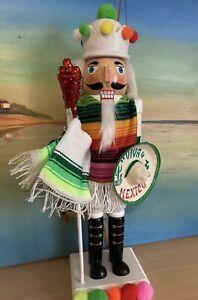 "New! Cinco De Mayo Mexican Nutcracker 🌶14"" Authentic Sarape Sombrero Fiesta"