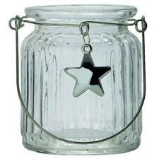6 x Windlichter aus Glas mit Stern und Henkel H 9 cm Teelichtgläser zum Hängen