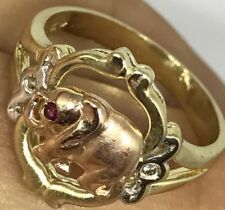 Gold Good luck elephant 14k Ring lucky manmade diamond Ruby 7 5 6 8 9 3.9g
