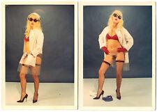 PROVOCATIVE SWEDISH NUDE MODEL / NACKTE SCHWEDIN * Set of 2 Vintage 60s Photos