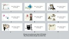 30 Personalized Return Address Labels Birds Owls Buy 3 get 1 free (bo 2)