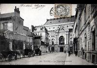 TOURS (37) ATTELAGES au THEATRE MUNICIPAL trés animé en 1903