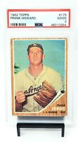 1962 Topps Los Angeles Dodgers FRANK HOWARD Vintage Baseball Card PSA 2 GOOD