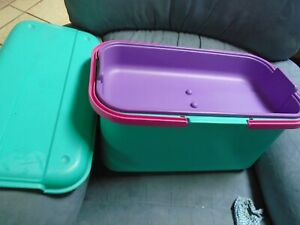 "Eagle Craftstor Craft Tote Sewing Bin Aqua Teal/Pink Purple Tray Organizer 19"""