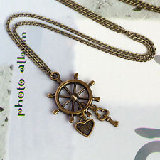 Antique Bronze Sailer Nautical Ship Wheel with Love Heart and Key Necklace