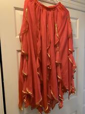Pink With Gold Trim- Belly Dance/dance Skirt Free Size