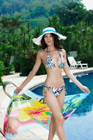 Women's Classic Print String Bikini Blue Pink Black White Complete Set Holiday