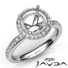 Classic Round Semi Mount 0.6Ct Diamond Engagement Ring Platinum 950 Halo Pave