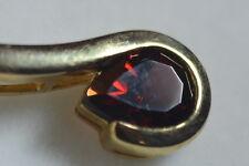 """BN 9ct gold teardrop garnet pendant on a fancy 18"""" chain"""