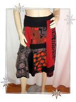 Jupe Fantaisie Noire Rouge Imprimée Desigual Taille S Réf : 96F2708 ETHNOGRAPHIC