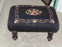 Primitive Antique Vintage Black W/ Flowers Needlepoint Foot Stool Wood Bottom