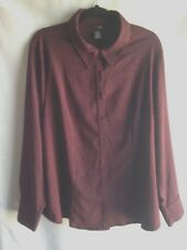 East 5th Shirt Women's Size 2XL Brocade Blouse Burgundy Top Career Work Church
