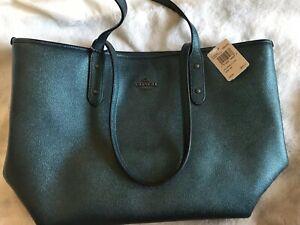 Coach Tote Handbag - Dark Teal Metallic Leather