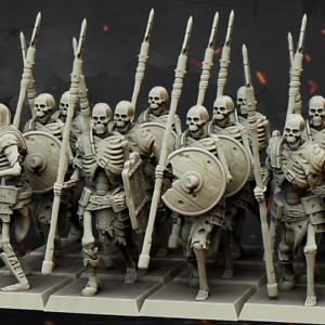 Skeleton Spearmen Warriors x12 - WFB Fantasy Resin Printed D&D miniatures