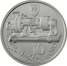 Slowakei 10 Euro 2009 Aurel Stodola Dampfturbine Silbermünze Stempelglanz