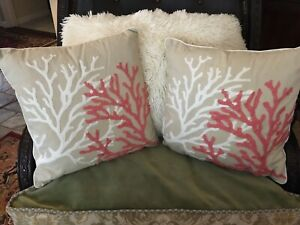 EUC THRESHOLD TARGET Natural Coral Embroidered Pair Of Throw Pillows