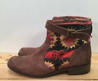 Desigual Mas-2 Women's Brown Riding Leather Ankle Boots US Size 9.5
