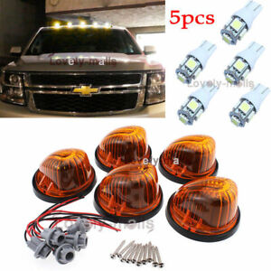 5Pcs Roof Top Cab Marker Round Amber Lens + White Lights FIT 1973-1987 Chevy GMC