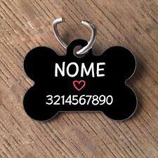 Medaglietta PERSONALIZZATA cane forma di osso NOME telefono nera con cuore rosso