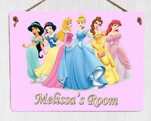 Personalised DISNEY PRINCESS DOOR PLAQUE Any Text Metal Kids Room Bedroom Sign