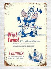 baseball Minnesota Twins 1961 Official Program Hamm's beer ad tin sign