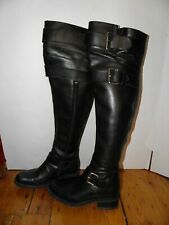 FREE LANCE Black Leather Over the Knee High Moto Biker Boots Size 36