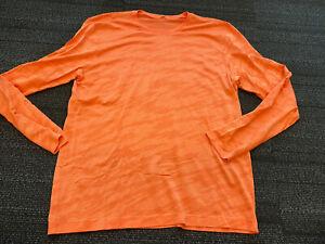 Lululemon Metal Vent Perforated Tech L/S Shirt Orange Camo Men's XXL