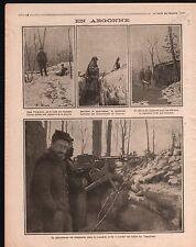 WWI Poilus en Argonne Abri Pare-Balles Mitrailleuses France 1915 ILLUSTRATION