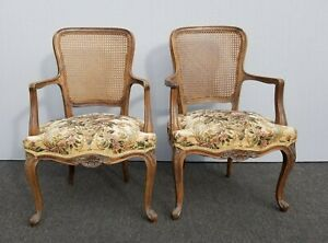 Pair Vintage French Provincial Country White Floral Cane Back Accent Chairs 0221