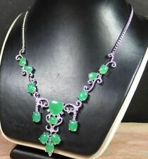 Gold Plate Icy Green JADE Heart Cabochon Bead Beads Necklace Diamond 100777