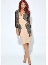 Amy Childs Pencil Bodycon Dress 16 Nude Black Long Sleeve Lace Mesh Xmas Wedding