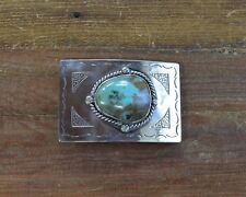 Turquoise Belt Buckle Navajo Sterling Silver