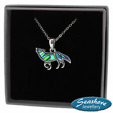 Wolf Necklace Paua Abalone Shell Pendant Womens Silver Jewellery Gift Boxed