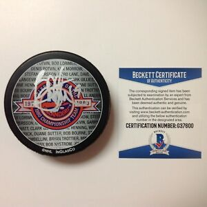 Bryan Trottier Signed 79/80 NY New York Islanders Hockey Puck Beckett BAS COA a