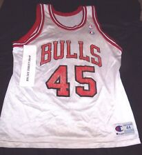 Michael Jordan #45 CHAMPION Chicago Bulls NBA Jersey Snapback sz 44 Large White