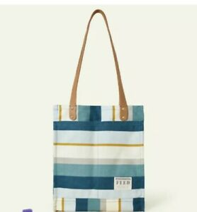New FEED PROJECTS Causebox Canvas Market Tote Bag Coastal Stripe Blue