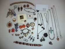 LOT JEWELRY SOME VINTAGE PINS LOCKET RING EARRINGS STERLING SILVER NECKLACES +