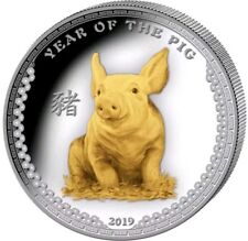 2019 1 Oz PROOF Silver YEAR OF THE PIG Ultra High Relief Coin WITH 24K GOLD GILD